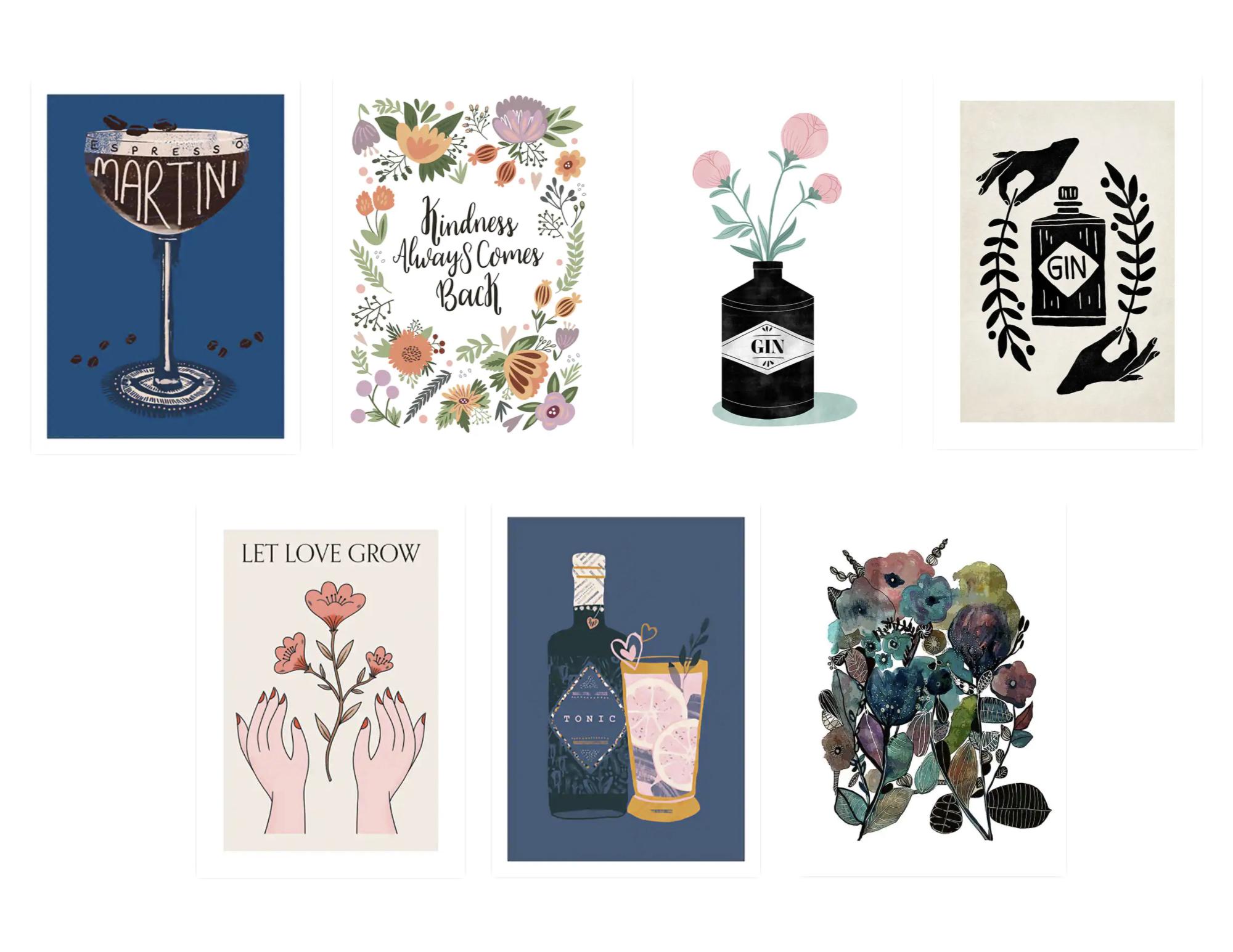 association affiche deco desenio exemple illustration dessin vintage alcool bouteille fleur décalé