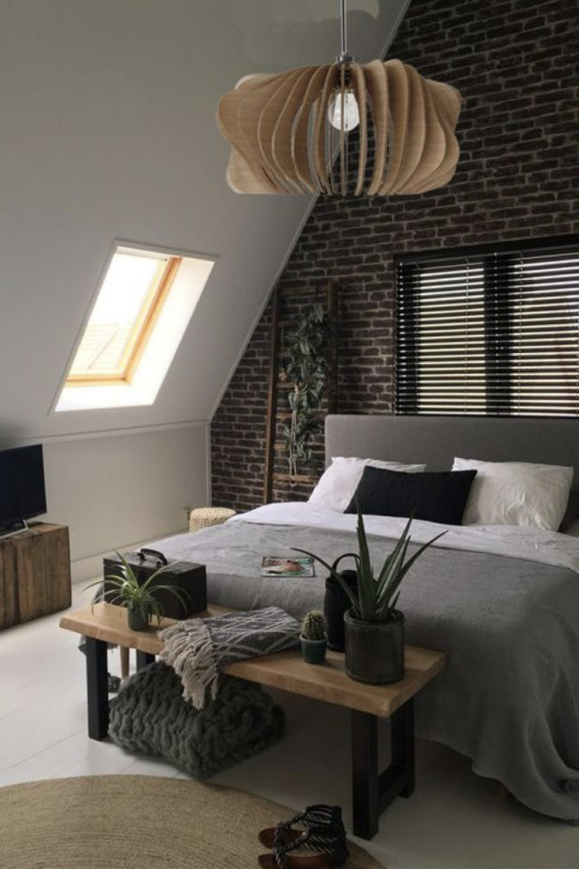 chambre combles moderne couleur exemple mur en brique lit moderne gris petit velux