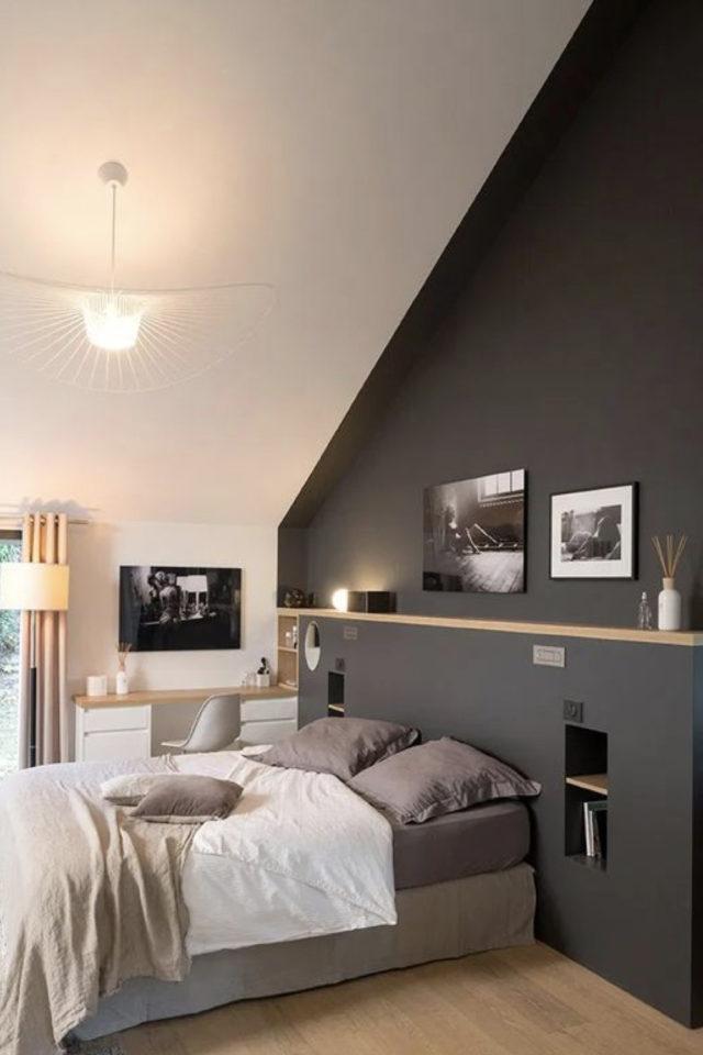 chambre combles moderne couleur exemple mur gris anthracite couleur contemporaine etagere bois peinture