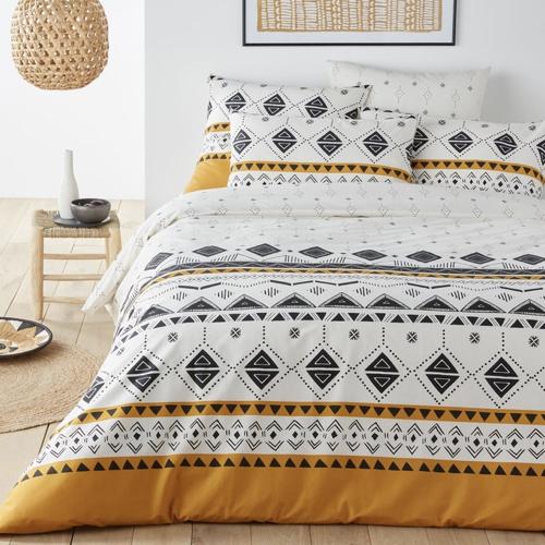 chambre etudiante mobilier decoration housse de couette blanche motif imprime ethnique moderne