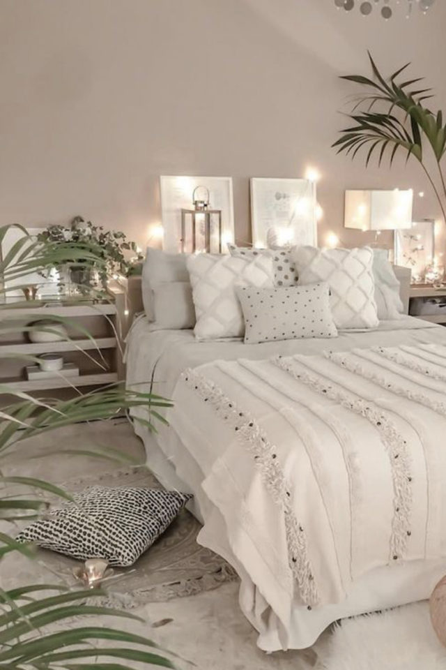 chambre lumineuse couleur exemple ambiance cosy couleur rose clair poudré linge de lit neutre