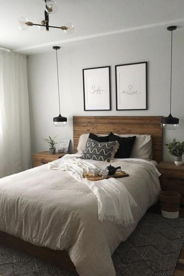 chambre lumineuse couleur exemple peinture mur gris clair neutre tête de lit bois