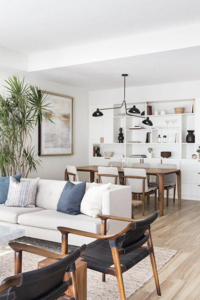 coin repas exemple gain de place salon séjour salle à manger chaise tissus table rectangulaire bois