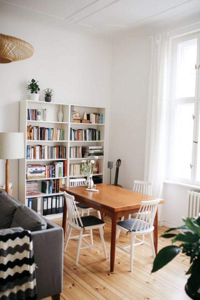 coin repas exemple gain de place table bois rectangulaire bibliothèque salon salle à manger moderne