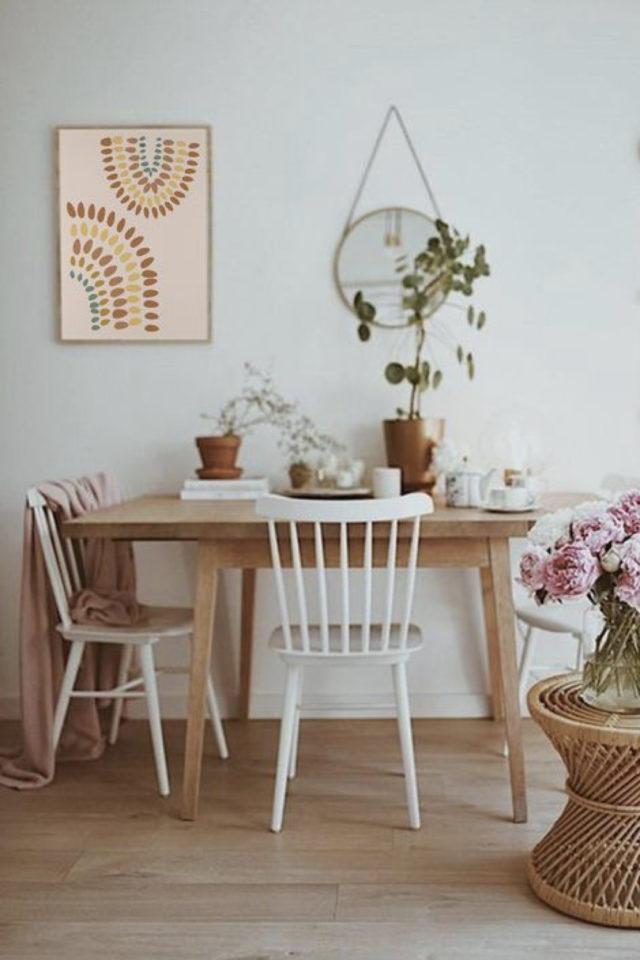 coin repas exemple gain de place cuisine salle à manger séjour table bois chaise scandinave blanche