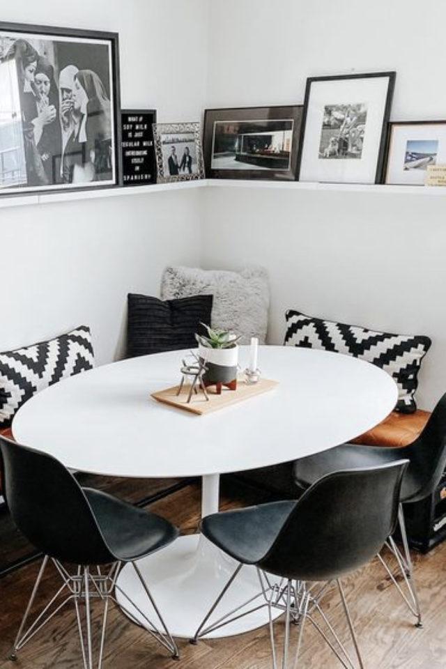 coin repas exemple gain de place banquette table ronde etagere cadre