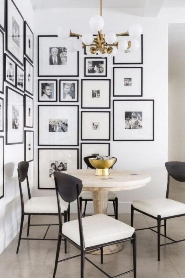 coin repas exemple gain de place decoration angle cadre patchwork table ronde elegance chic