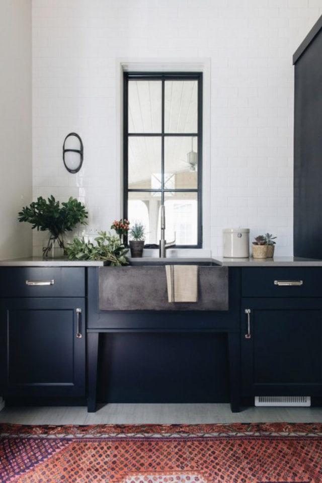 cuisine classique chic couleur exemple meuble bleu foncé