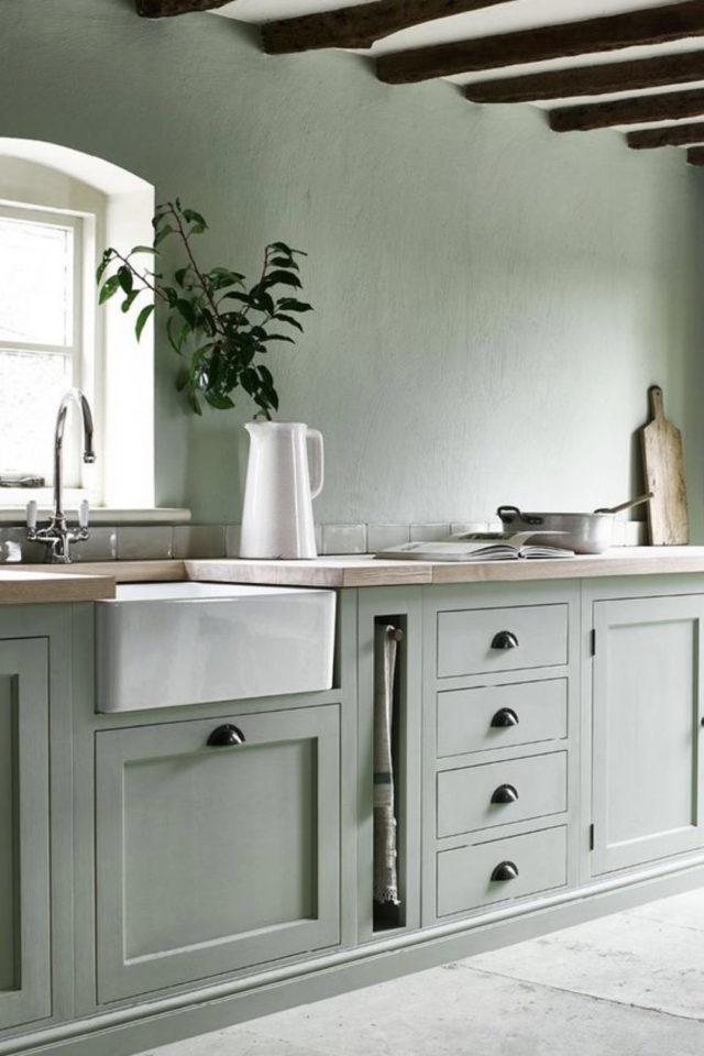 cuisine classique chic couleur exemple vert amande vert d'eau vert sauge meuble et mur