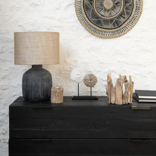 deco minimaliste chambre pas cher lampe de chevet noir abat jour naturel slow deco