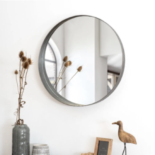 deco minimaliste chambre pas cher miroir rond tour noir gris