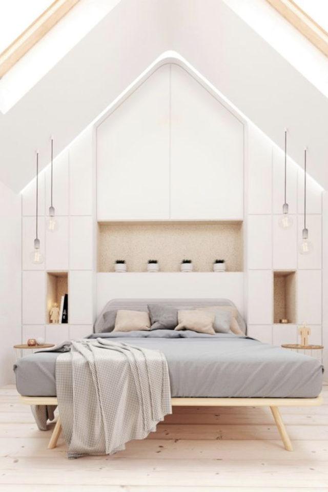 deco moderne chambre mansarde exemple épurée grand dressing niche tête de lit