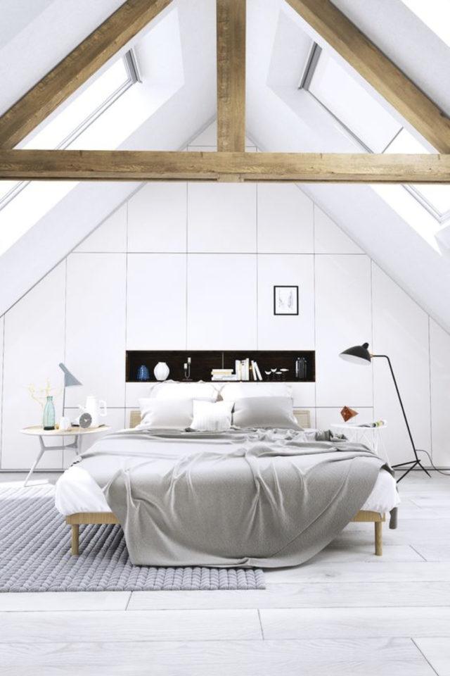 deco moderne chambre mansarde exemple aménagement sur mesure soupente niche charpente bois contraste blanc