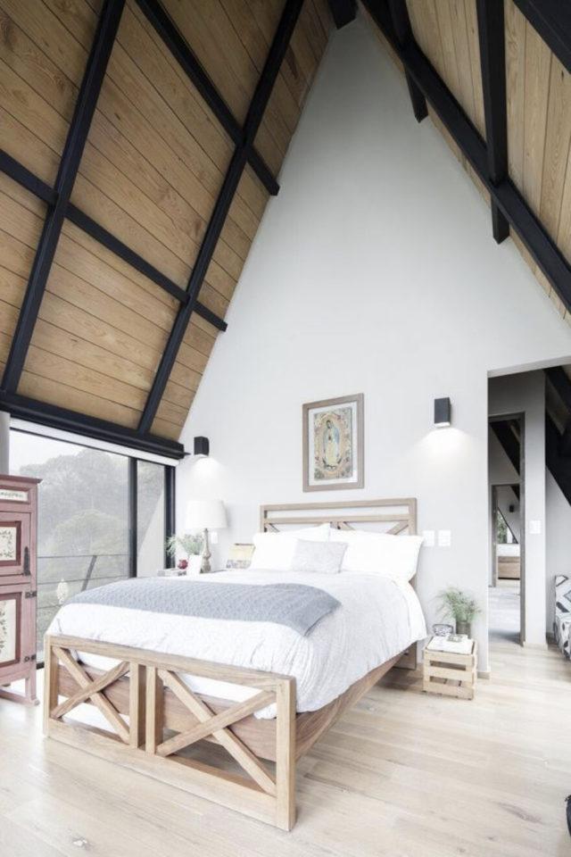 deco moderne chambre mansarde exemple soupente revetement bois grande hauteur sous plafond mur blanc