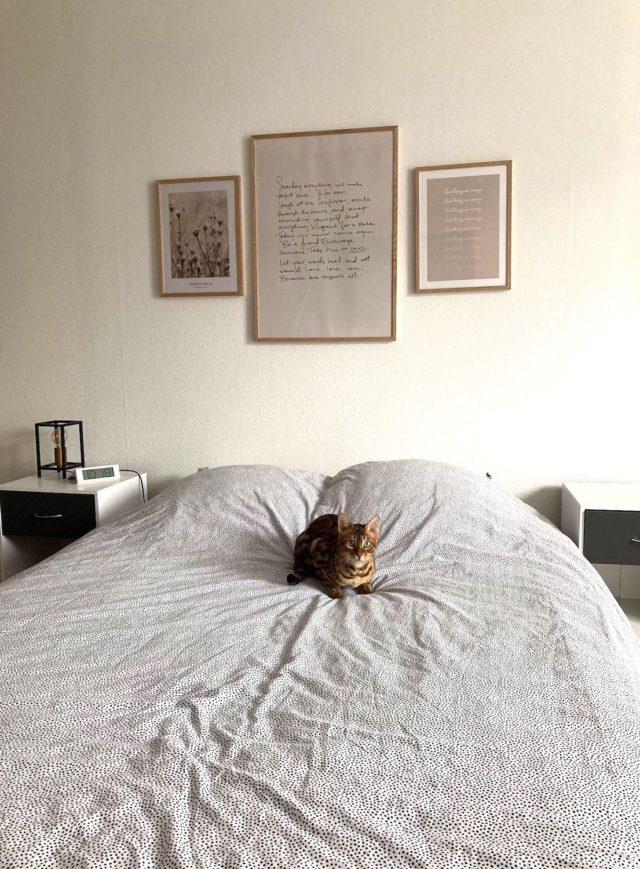 deco murale desenio chambre style épuré cadres poster affiches citation dessus de lit