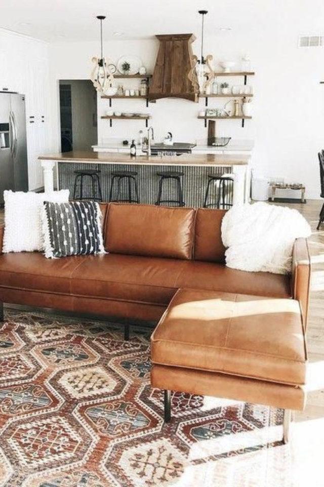 decoration canape cuir angle exemple tapis persan espace ouvert sur la cuisine espace bar