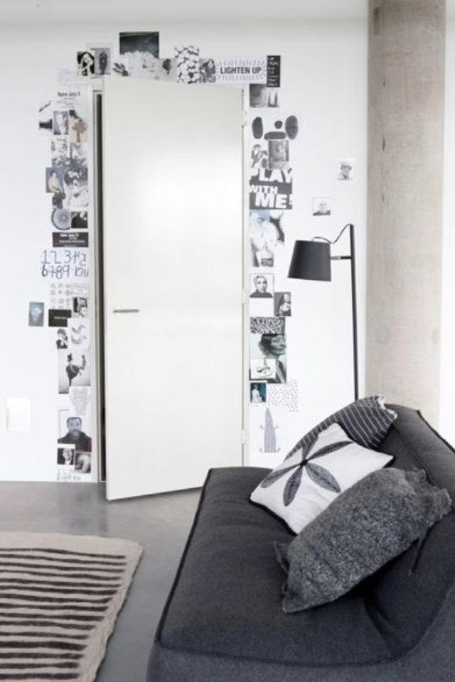 decoration chambre etudiant exemple porte entrée studio photo collage