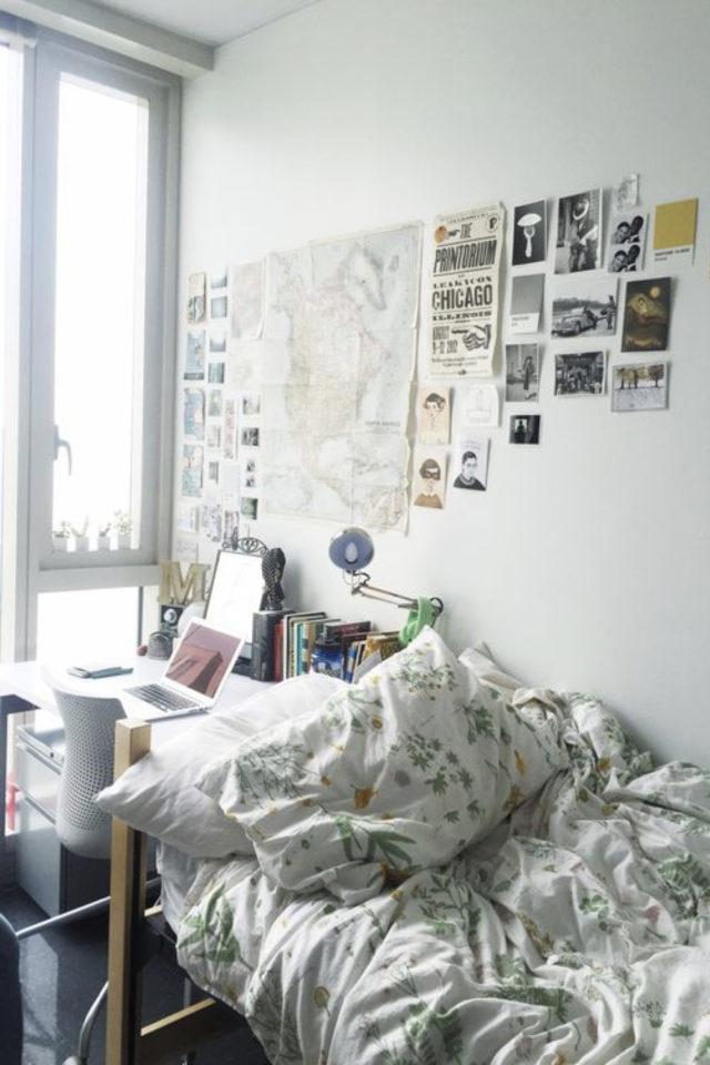decoration chambre etudiant exemple photo au dessus du bureau idée exemple