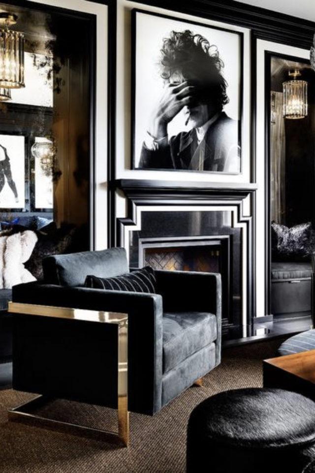 decoration interieure rock materiaux élégance cadres métal velours cheminée