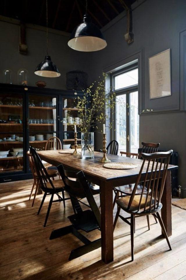 decoration interieure rock materiaux salle à manger table en bois parquet