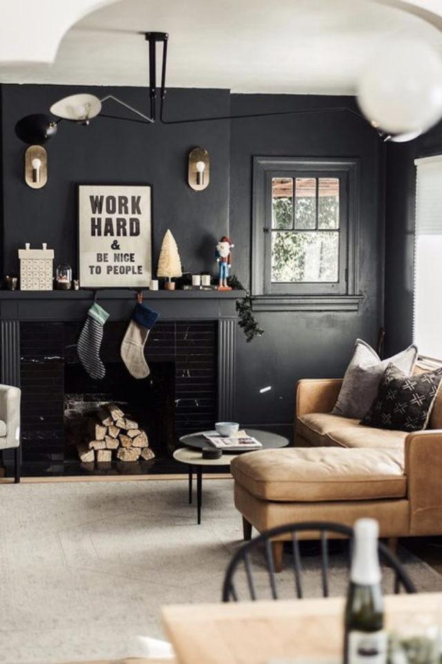 decoration interieure rock materiaux peinture noire simple
