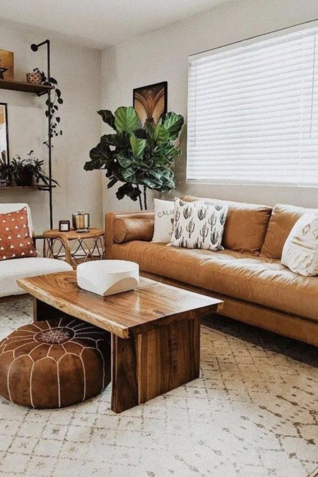 decoration moderne salon canape cuir exemple pouf en cuir rond plante verte simple