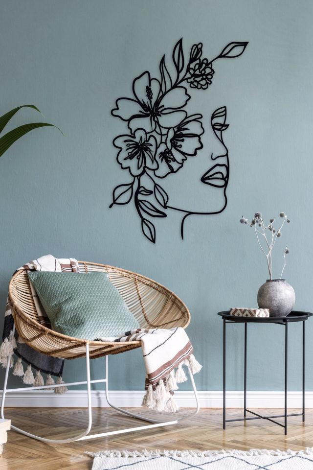 decoration murale metal made in france visage poétique nature fleurs plantes dessin sculpture métallique pas cher