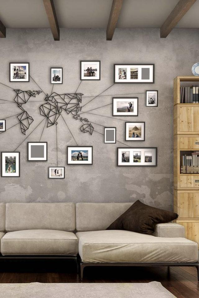 decoration murale metal made in france passion voyage planisphère métallique carte du monde cadre moderne salon