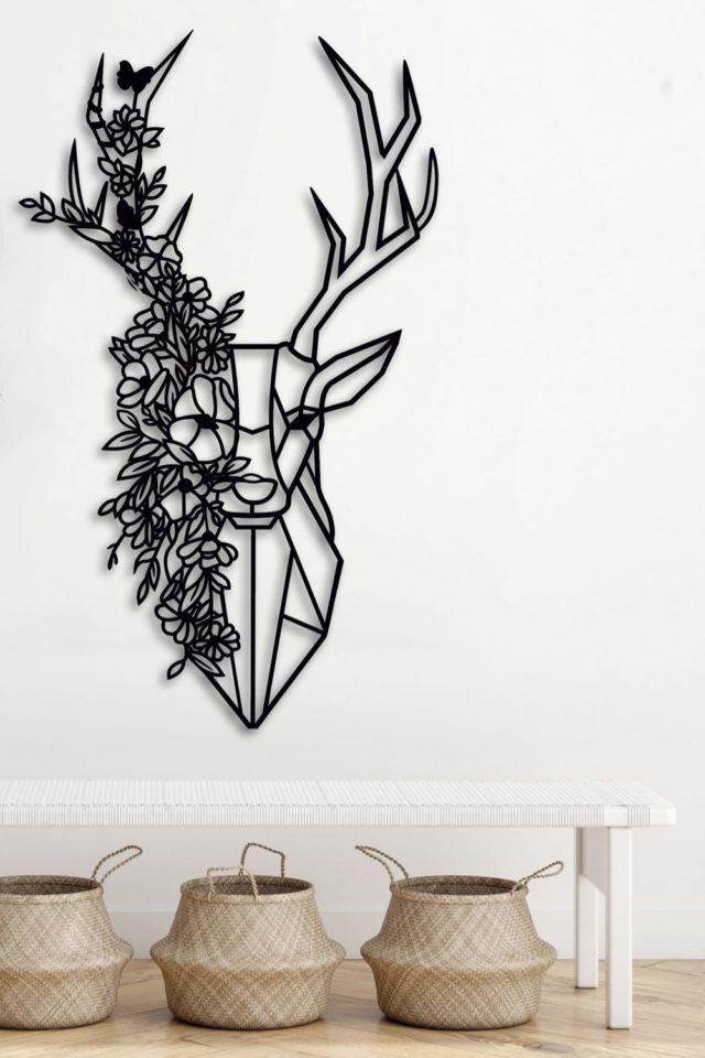 decoration murale metal made in france moderne tête de cerf fleur plante décoration naturelle et jeune