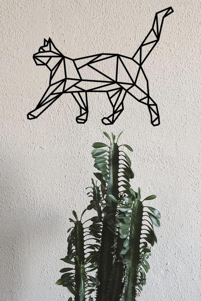 decoration murale metal made in france sculpture chat moderne géométrique métallique