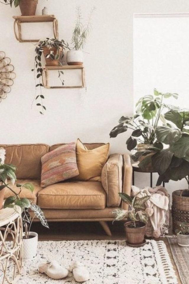 decoration salon petit canape cuir exemple plante figuier piètement bois légèrement vintage