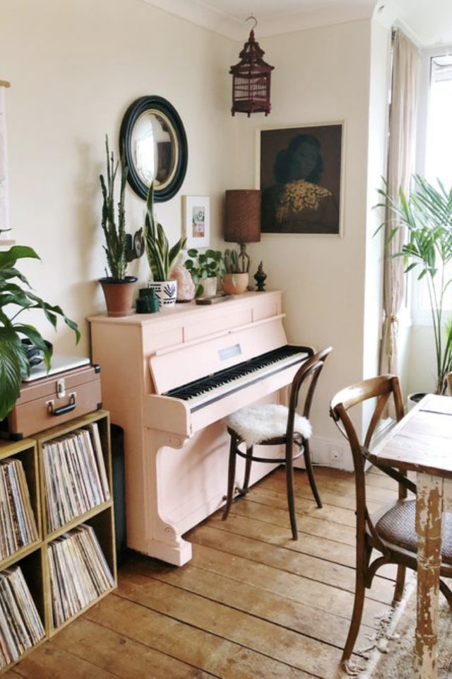 exemple salle a manger moderne rose piano peinture vinyle