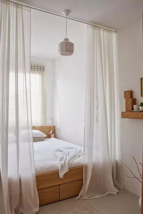 gain de place chambre exemple petite chambre studio appartement étudiant  rideau séparation