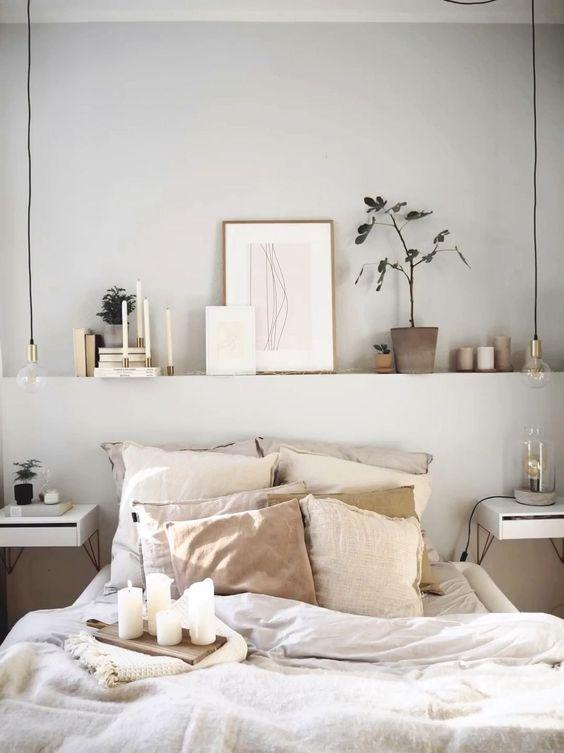 gain de place chambre exemple coffre ton sur ton tête de lit mur étagère