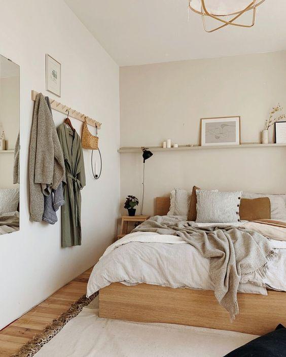 gain de place chambre exemple petite chambre neutre moderne tendance
