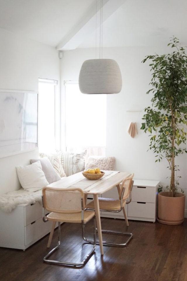 gain de place coin salle a manger decoration moderne banquette blanche avec tiroir