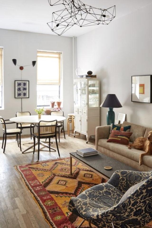 gain de place coin salle a manger salon salle à manger séjour tapis deco moderne