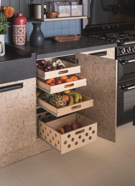 gain de place rangement exemple cuisine aménagement caisson tiroir pratique