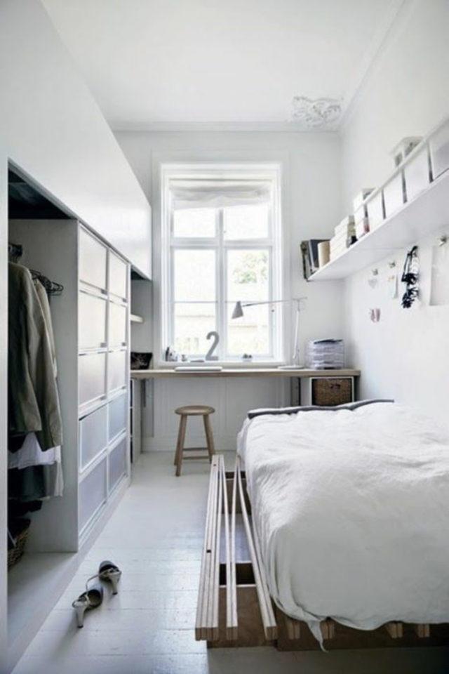 logement etudiant confort bien etre exemple bureau fenêtre meuble sur mesure penderie lit minimalisme