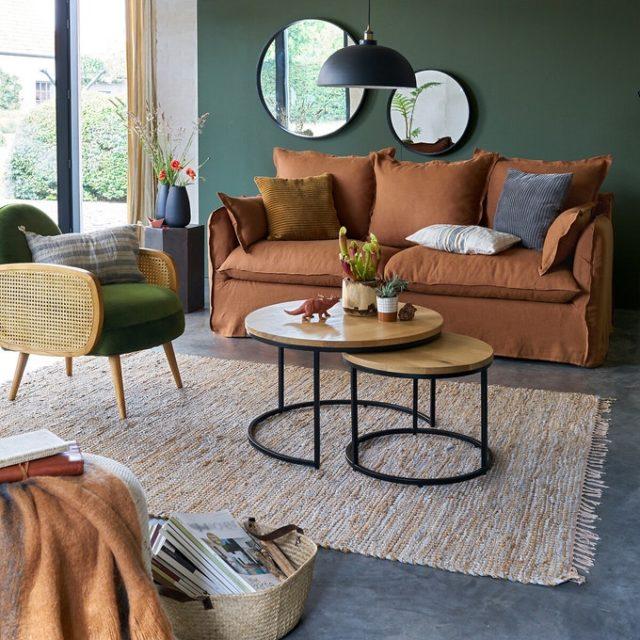 maison responsable decoration durable la redoute table gigogne basse bois foret durable piètement metal