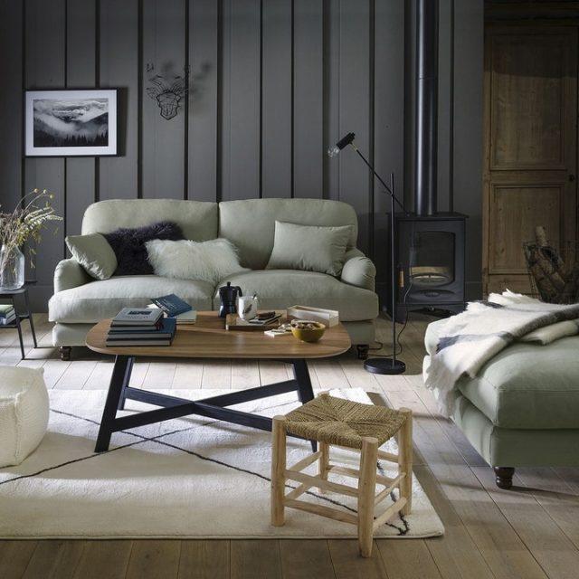 maison responsable decoration durable la redoute canapé fabriqué en france ambiance cosy style moderne salon séjour lambris