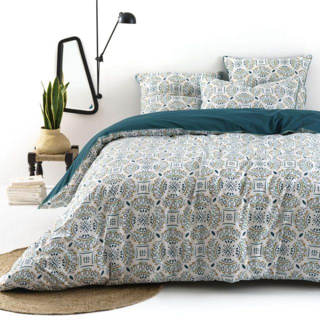 maison responsable decoration durable la redoute parure de lit imprimée claire bleue blanc