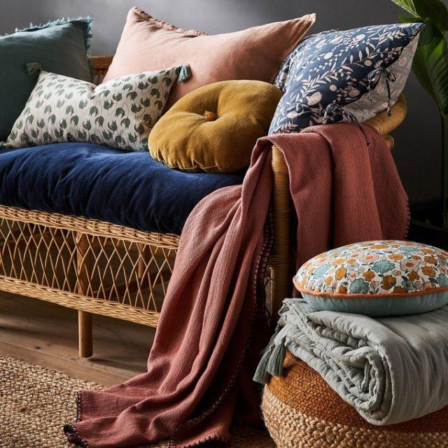 maison responsable decoration durable la redoute coussin en lin lavé salon séjour canapé fauteuil chambre
