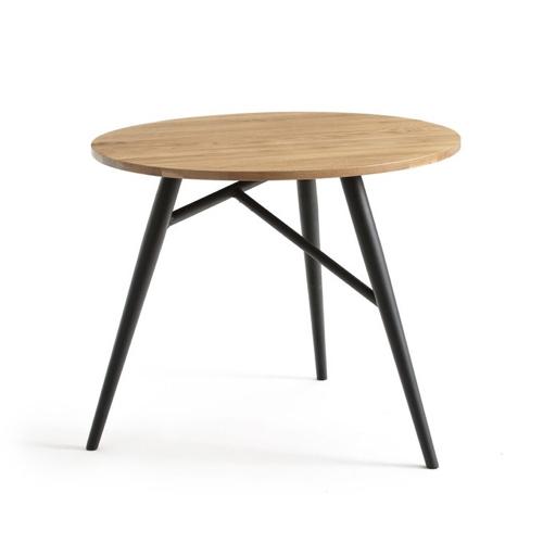meuble coin repas moderne petite table ronde bois pieds noirs