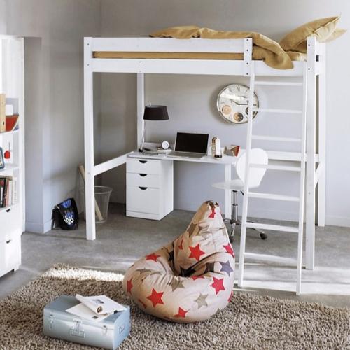 meuble deco pour étudiant lit mezzanine 2 personne blanc chambre universitaire