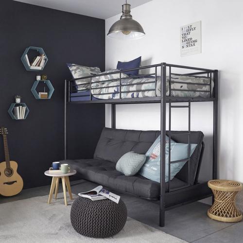 meuble deco pour étudiant lit mezzanine métal avec canapé pas cher