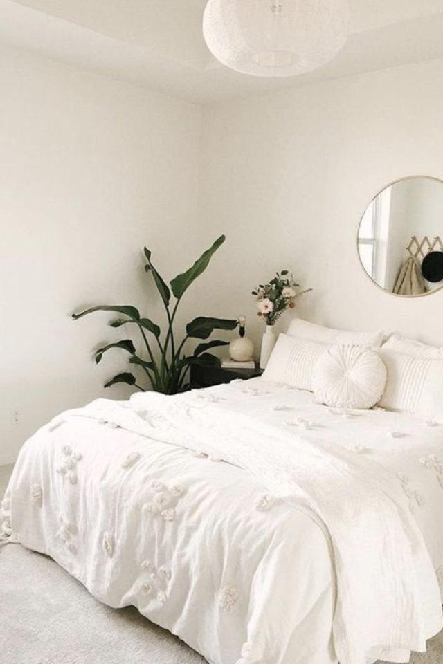 minimalisme chambre decoration exemple plante verte habiller angle pièce et élément décoratif