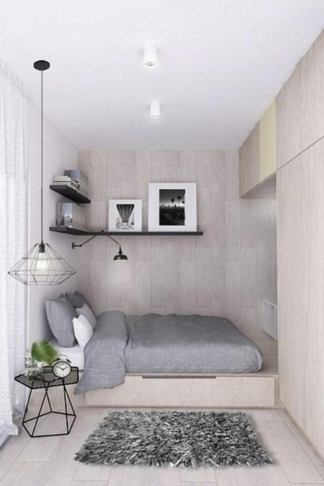 minimalisme chambre decoration exemple meuble dressing sur mesure niche bois lit aménagement