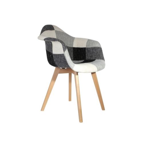 ou acheter fauteuil moins de 100euros style rétro eames scandinave patchwork tartan gris et blanc