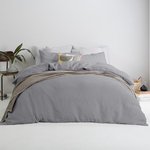 ou trouver accessoire deco minimaliste chambre parure de lit gris unie